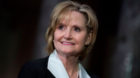 UNITED STATES - APRIL 9: Sen. Cindy Hyde-Smith, R-Miss., attends her swearing-in ceremony the Capitol's Old Senate Chamber after being sworn in on the Senate floor on April 9, 2018. (Photo By Tom Williams/CQ Roll Call)