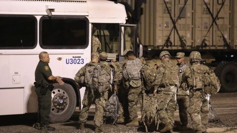 DONNA, TX - NOVEMBER 03:  U.S. Army soldiers move to another location near the U.S.-Mexico border on November 3, 2018 in Donna, Texas. President Trump ordered the troops to border areas to fortify ports of entry ahead of the possible arrival of an immigrant caravan in upcoming weeks.  (Photo by John Moore/Getty Images)