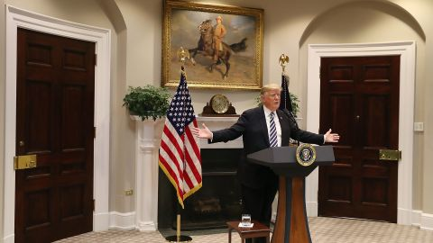 WASHINGTON, DC - NOVEMBER 01:  U.S. President Donald Trump talks about immigration in the Roosevelt Room at the White House on November 1, 2018 in Washington, DC. President Trump announced plans to deny asylum to migrants who try to enter the U.S. illegally.  (Photo by Mark Wilson/Getty Images)