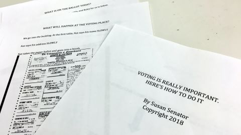 Susan Senator created a booklet about how to cast a ballot in the midterm elections for her son Nathaniel Batchelder, who was diagnosed with autism.