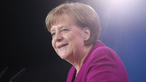 German Chancellor Angela Merkel speaks to delegates of her political party, the Christian Democratic Union, in February 2018.