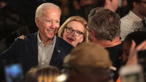 """BRIDGETON, MO - OCTOBER 31:  Senator Claire McCaskill and former Vice President Joe Biden greet McCaskill supporters at a """"get out the vote"""" rally which on October 31, 2018 in Bridgeton, Missouri. McCaskill is in a tight race with her Republican challenger Missouri Attorney General Josh Hawley.  (Photo by Scott Olson/Getty Images)"""