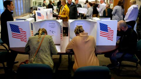 DES MOINES, IA - NOVEMBER 06: Voters fill out their ballot on November 6, 2018 in Des Moines, Iowa. Today's election will determine if Republicans or Democrats will  control the House of Representatives. (Photo by Joshua Lott/Getty Images)