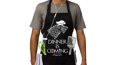 """<strong>'Dinner Is Coming' Grill Apron ($28.77; </strong><a href=""""https://amzn.to/2JJVRwH"""" target=""""_blank"""" target=""""_blank""""><strong>amazon.com</strong></a><strong>)</strong>"""