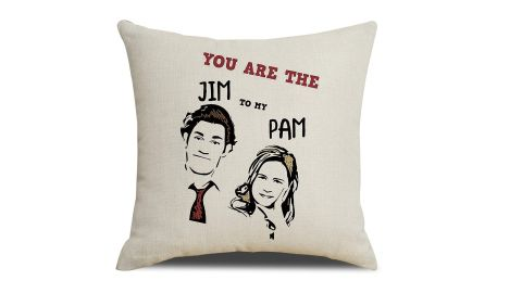 """<strong>Pam and Jim Pillow Cover ($9.99; </strong><a href=""""https://amzn.to/2JGWjM2"""" target=""""_blank"""" target=""""_blank""""><strong>amazon.com</strong></a><strong>)</strong>"""