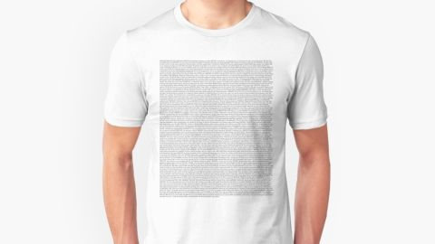 """<strong>'The Office' Pilot Script Unisex T-shirt ($19.90; </strong><a href=""""https://www.redbubble.com/people/wbmr/works/21861959-the-office-pilot-episode-script-us?p=t-shirt"""" target=""""_blank"""" target=""""_blank""""><strong>redbubble.com</strong></a><strong>)</strong>"""