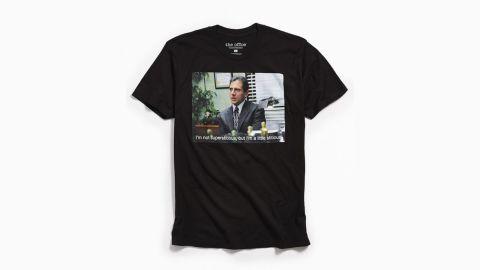 "<strong>'The Office' Stitious T-Shirt ($29; </strong><a href=""https://click.linksynergy.com/deeplink?id=Fr/49/7rhGg&mid=43176&u1=1218tvgifts&murl=https%3A%2F%2Fwww.urbanoutfitters.com%2Fshop%2Fthe-office-stitious-tee%3Fadpos%3D1o6%26cm_mmc%3DSEM-_-Google-_-PLA-_-192827737984_product_type_m_product_type_app_product_type_shirts_product_type%26color%3D001%26creative%3D210011019976%26device%3Dc%26gclid%3DCj0KCQiA8f_eBRDcARIsAEKwRGcF9BbAlx8inUDqFJbmHrKmRySaFtFBWy2sxqVbssOue04eO3hR7GUaAkPDEALw_wcB%26inventoryCountry%3DUS%26matchtype%3D%26mrkgadid%3D3073399835%26mrkgcl%3D671%26network%3Dg%26product_id%3D48274732%26utm_campaign%3DPLA"" target=""_blank"" target=""_blank""><strong>urbanoutfitters.com</strong></a><strong>) </strong>"
