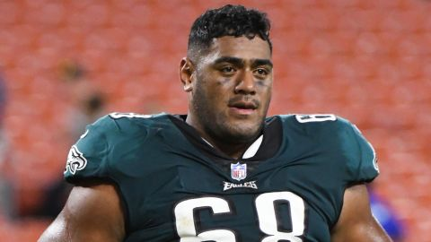 CLEVELAND, OH - AUGUST 23, 2018: Offensive tackle Jordan Mailata #68 of the Philadelphia Eagles runs off the field after a preseason game against the Cleveland Browns on August 23, 2018 at FirstEnergy Stadium in Cleveland, Ohio. Cleveland won 5-0. (Photo by: 2018 Nick Cammett/Diamond Images/Getty Images)