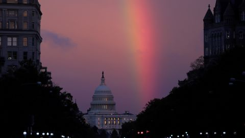 A rainbow forms over the U.S. Capitol as evening sets on midterm Election Day in Washington, U.S. November 6, 2018. REUTERS/Jonathan Ernst     TPX IMAGES OF THE DAY