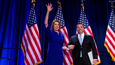 U.S. House Minority Leader Nancy Pelosi is introduced on stage by Democratic Congressional Campaign Committee (DCCC) Chairman Ben Ray Lujan as they react to the results of the U.S. midterm elections at a Democratic election night rally in Washington, U.S. November 6, 2018. REUTERS/Al Drago