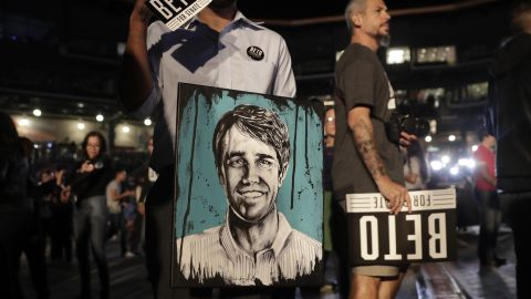 Erik Angel holds a portrait of Rep. Beto O'Rourke, the 2018 Democratic candidate for Senate in Texas, at O'Rourke's election night party, Tuesday, Nov. 6, 2018, in El Paso, Texas. (AP Photo/Eric Gay)