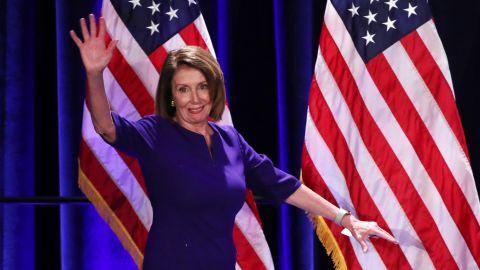 U.S. House Minority Leader Nancy Pelosi arrives onstage to celebrate the Democratic House wins at a Democratic celebration of the results of the U.S. midterm elections in Washington, U.S. November 6, 2018.