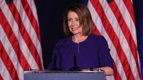 U.S. House Minority Leader Nancy Pelosi celebrates the Democrats winning a majority in the U.S. House of Representatives in the U.S. midterm elections during a Democratic election night party in Washington, U.S. November 6, 2018.