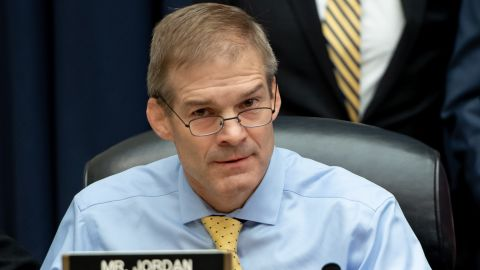 Rep. Jim Jordan, Republican of Ohio, attends a House Joint committee hearing with witness Deputy Assistant FBI Director Peter Strzok as he testifies on FBI and Department of Justice actions during the 2016 Presidential election on Capitol Hill in Washington, DC, July 12, 2018. (SAUL LOEB/AFP/Getty Images)
