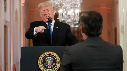 """President Donald Trump points at CNN's Jim Acosta and accuses him of """"fake news"""" while taking questions during a news conference following Tuesday's midterm congressional elections at the White House in Washington, D.C. Wednesday, November 7, 2018."""