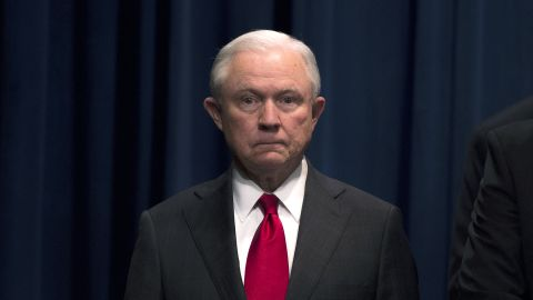 US Attorney General Jeff Sessions looks on during a press conference regarding the arrest of bombing suspect Cesar Sayoc in Florida, at the Department of Justice in Washington, DC on October 26, 2018. - The suspect has been charged with five federal crimes in connection with more than a dozen suspicious packages sent in a US mail bombing spree, Sessions said. (Photo by ANDREW CABALLERO-REYNOLDS / AFP)        (Photo credit should read ANDREW CABALLERO-REYNOLDS/AFP/Getty Images)