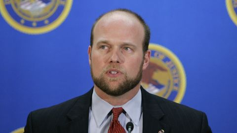U.S. Attorney Matthew Whitaker speaks during a news conference Wednesday, Dec. 20, 2006, in Des Moines, Iowa. The federal government has charged 23 illegal aliens taken into custody last week at a raid at a Swift & Co. meatpacking plant in Marshalltown, Iowa. Whitaker said Wednesday that the workers were indicted by a federal grand jury on identity theft charges and immigration violations. (AP Photo/Charlie Neibergall)
