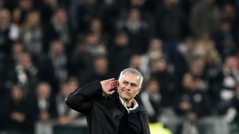Mourinho gestures to the crowd after United beat Juventus in a Champions League group stage game. United's qualification for the competition's knockout stages has been the one silver lining this season.
