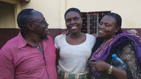 Father, Mujum Majum, Mathel, and her mother, Florence on Wednesday in Bamenda city.