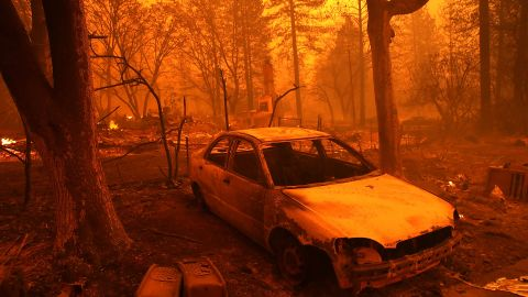 The Camp Fire moves through the town of Paradise on November 8, 2018.