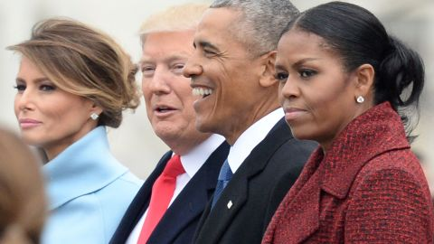 WASHINGTON, DC - JANUARY 20:   President Donald Trump (2nd-L) First Lady Melania Trump (L), former President Barack Obama (2nd-R) and former First Lady Michelle Obama walk together following the inauguration, on Capitol Hill in Washington, D.C. on January 20, 2017. President-Elect Donald Trump was sworn-in as the 45th President. (Photo by Kevin Dietsch/Pool/Getty Images)