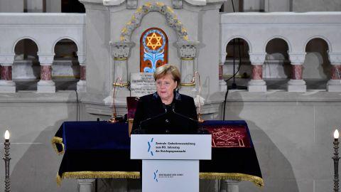 Merkel speaks during a ceremony at the Rykestrasse Synagogue in Berlin on November 9.