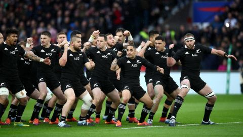 The All Blacks perform the haka prior to the Quilter International match between England and New Zealand.