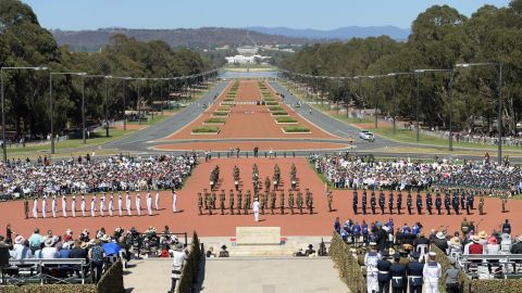The view to Parliament House along ANZAC Parade during the Remembrance Day Service at the Australian War Memorial.