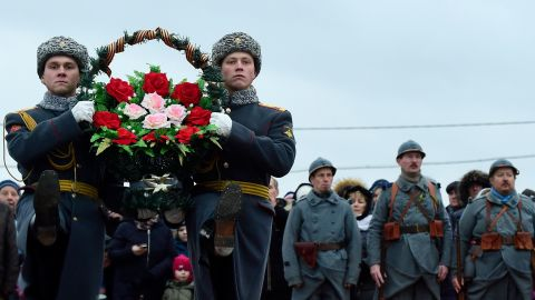 Russian honour guards carry wreaths marking the centenary of the Armistice Day at the Brotherly cemetery of WWI heroes in Tsarskoye Selo outside Saint Petersburg.