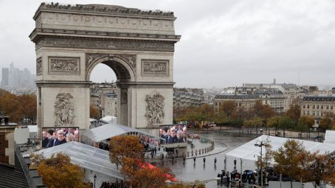 World leaders joined French President Emmanuel Macron at the Tomb of the Unknown Soldier, which lies at the foot of the Arc de Triomphe monument in Paris.