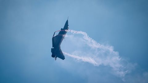 """A J-10B fighter jet of PLA's Air Force shows off """"thrust vectoring"""" technology at Airshow China in Zhuhai last week."""