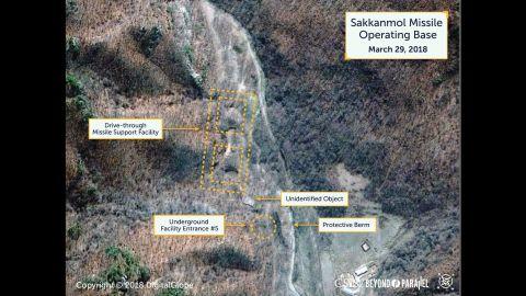 Satellite photos North Korea's Sakkanmol Missile Operating Base, March 29, 2018.