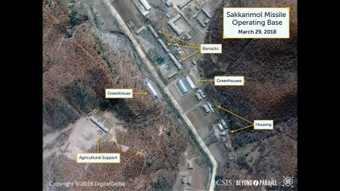 Satellite photos of Sakkanmol Missile Operating Base, March 29, 2018.