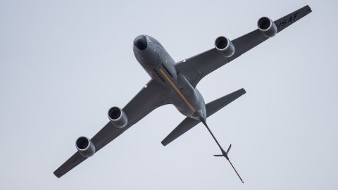 A KC-135 Stratotanker, from the 434th Air Refueling Wing at Grissom Air Reserve Base, Ind., flies in the Thunder Over Louisville air show in Louisville, Ky., April 21, 2018. The Kentucky Air National Guard once again served as the base of operations for all military aircraft, providing essential maintenance and logistical support. (U.S. Air National Guard photo by Lt. Col. Dale Greer)