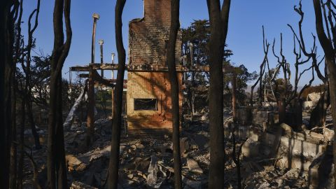 Burned trees surround a destroyed home leaving only the fireplace in Point Dume in Malibu, Calif., on Sunday, Nov. 11, 2018. Strong Santa Ana winds have returned to Southern California, fanning a huge wildfire that has scorched a string of communities west of Los Angeles. A one-day lull in the dry, northeasterly winds ended Sunday morning and authorities warn that the gusts will continue through Tuesday. (AP Photo/Richard Vogel)