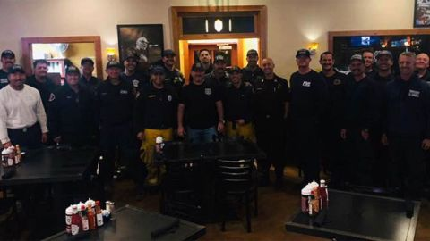 Marco Gonzalez welcomes first responders to his restaurant in Agoura Hills.