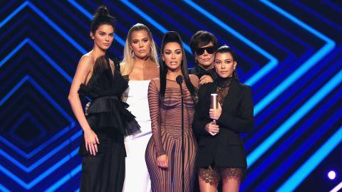 Kendall Jenner, Khloe Kardashian, Kim Kardashian West, Kris Jenner, and Kourtney Kardashian accept the The Reality Show of 2018 award for during the 2018 E! People's Choice Awards held at the Barker Hangar on November 11, 2018.
