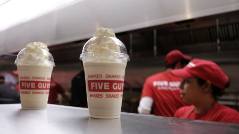 The second worst offender on Action on Sugar's list of of 140 drinks was Five Guys' banana and chocolate shake with 1,073 calories -- the equivalent of more than four cans of cola