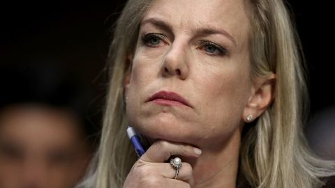 WASHINGTON, DC - MARCH 21:  Homeland Security Secretary Kirstjen Nielsen testifies before the Senate Intelligence Committee March 21, 2018 in Washington, DC. The committee heard testimony on the topic of election security during the hearing.  (Photo by Win McNamee/Getty Images)