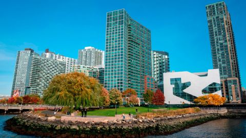 A view of the waterfront of Long Island City.