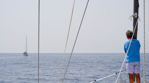 At one point during a journey to Tunisia, the wind was benign so we put the sails away and put on the engine to ensure we remained on schedule to arrive at Gammarth marina in daylight.