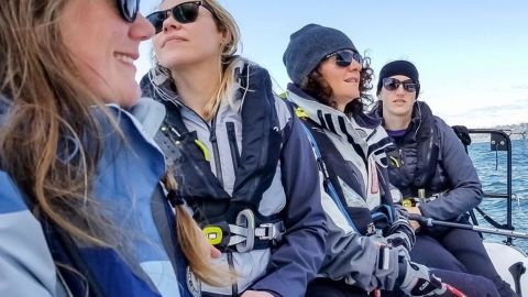 Assael Goussev (on the right) skippering the all female crew on 'Sail Like A Girl'. The notion of sailing without a notion initially scared her but she loved the feeling of being powered entirely by nature.