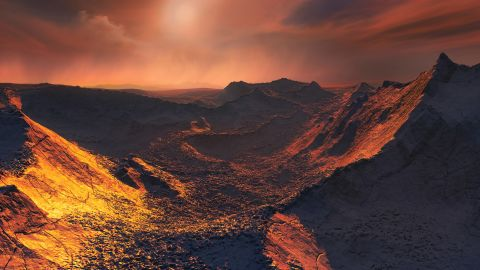 This image shows an artist's impression of the planet's surface.