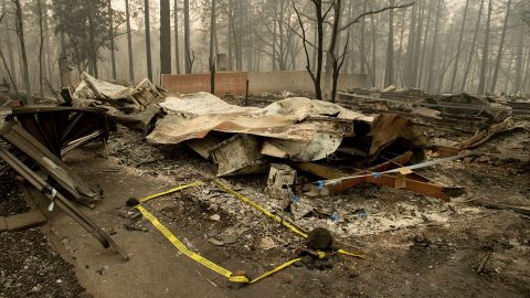 Tape outlines the location where sheriff's deputies on November 14 recovered the body of a Camp Fire victim.