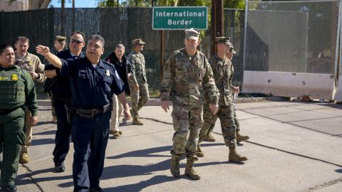 Calexico Port Director David Salazar guides U.S. Army North Commander Lt. Gen. Jeffrey Buchanan on a tour of the Calexico West Port of Entry.  They are accompanied by Chief Patrol Agent of the U.S. Border Patrol El Centro Sector Gloria Chavez and San Diego Director of Field Operations Pete Flores. November 13, 2018.  Photo by Ralph Desio.