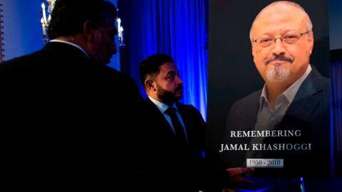A portrait of Jamal Khashoggi during a remembrance ceremony for him in Washington on November 2.
