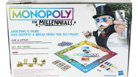 """Monopoly for Millennials allows young fans to take """"a break from the rat race,"""" Hasbro says"""