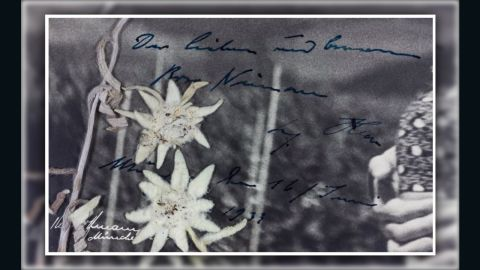 """A close-up shot of Hitler's handwritten message on the photograph, translated by the auction house as saying """"The dear and (considerate?) Rosa Nienau Adolf Hitler Munich, the 16th June 1933."""""""