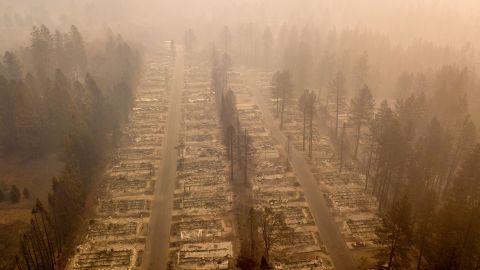 A burned neighborhood is seen on Thursday, November 15, in Paradise, California.