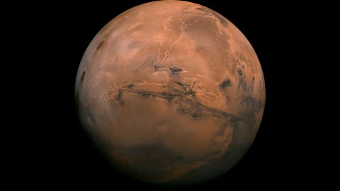 This perspective of Mars' Valles Marineris hemisphere from July 9, 2013, is actually a mosaic comprising 102 Viking Orbiter images. At the center is the Valles Marineris canyon system, over 2,000 kilometers long and up to 8 kilometers deep.